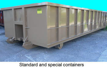 Standard and special containers.