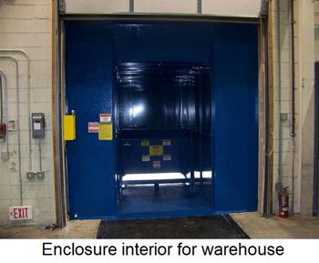 Enclosure interior for warehouse.
