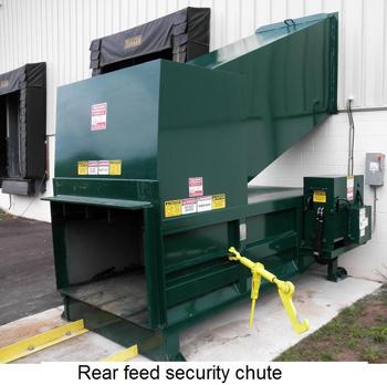 Rear feed security chute